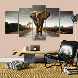 "5 Pieces Decorative 3D Painting ""Lone Elephant's Journey"""