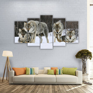 "5 Pieces Decorative 3D Painting ""The Wolves Pack"""