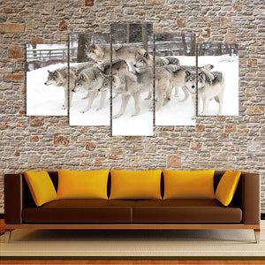 "5 Pieces Decorative 3D Painting ""Friendly Wolves"""