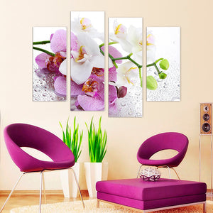 "4 Pieces Decorative 3D Painting ""Pink Orchid Petals"""