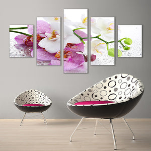 "5 Pieces Decorative 3D Painting ""White Orchid"""
