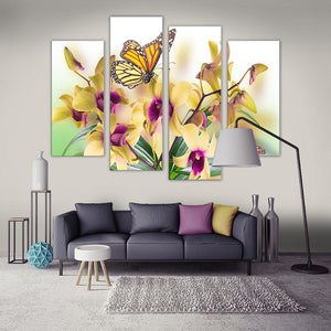 "4 Pieces Decorative 3D Painting ""The Yellow Orchid"""