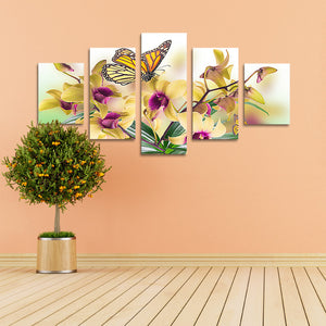 "5 Pieces Decorative 3D Painting ""Yellow Orchid"""