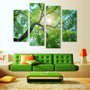 "4 Pieces Decorative 3D Painting ""Green Tree"""