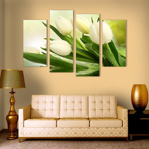 "4 Pieces Decorative 3D Painting ""White Tulips"""