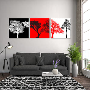 "3 Pieces Decorative 3D Painting ""High Contrast Trees"""