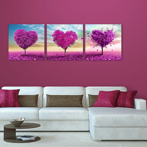 "3 Pieces Decorative 3D Painting ""Pink Heart Tree"""