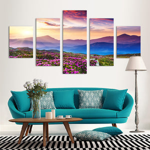 "5 Pieces Decorative 3D Painting ""Pink Mountain Sunset"""