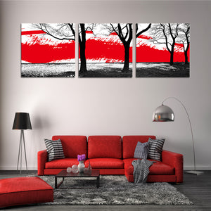 "3 Pieces Decorative 3D Painting ""Strong Contrast Trees"""