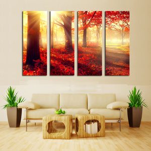 "4 Pieces Decorative 3D Painting ""The Red Forest"""