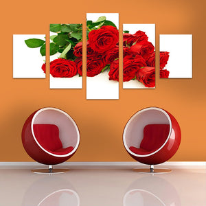 "5 Pieces Decorative 3D Painting ""Red Roses"""