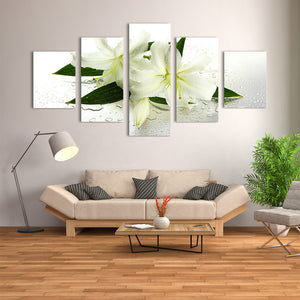 "5 Pieces Decorative 3D Painting ""White Lily"""
