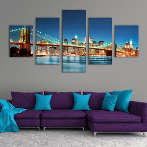 "5 Pieces Decorative 3D Painting ""Brooklyn Bridge at Night"""