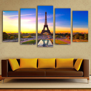 "5 Pieces Decorative 3D Painting ""Eiffel Tower Sunset"""