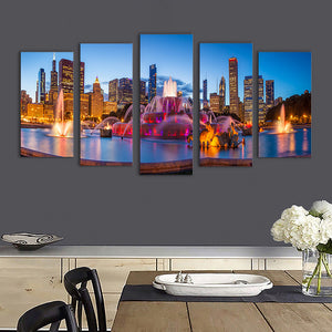 "5 Pieces Decorative 3D Painting ""Buckingham Fountain"""