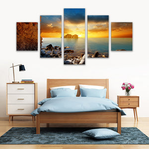 "5 Pieces Decorative 3D Painting ""Distant Sunset"""