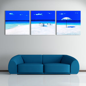 "3 Pieces Decorative 3D Painting ""Blue Exoticness"""
