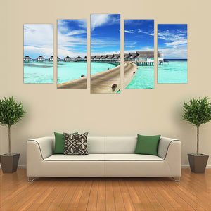 "5 Pieces Decorative 3D Painting ""Exotic Beach Pier"""