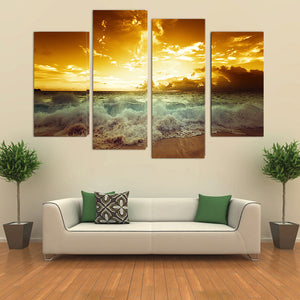 "4 Pieces Decorative 3D Painting ""Golden Sky"""