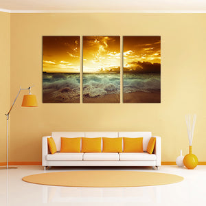 "3 Pieces Decorative 3D Painting ""Fiery Beach Sunset"""