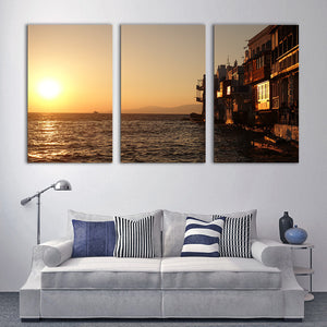 "3 Pieces Decorative 3D Painting ""The Village Lake"""