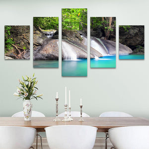 "5 Pieces Decorative 3D Painting ""Blue Lake Waterfall"""