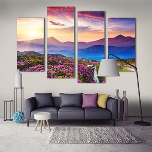 "5 Pieces Decorative 3D Painting ""Pink Flowers Mountain"""