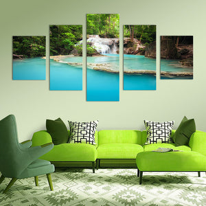 "5 Pieces Decorative 3D Painting ""Bluest Lake Waterfall"""