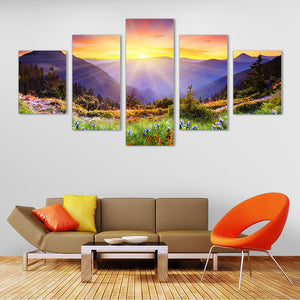 "5 Pieces Decorative 3D Painting ""Mountain Dusk"""