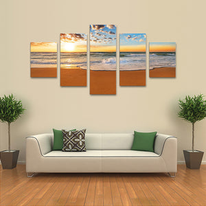 "5 Pieces Decorative 3D Painting ""White Waves Sunset"""