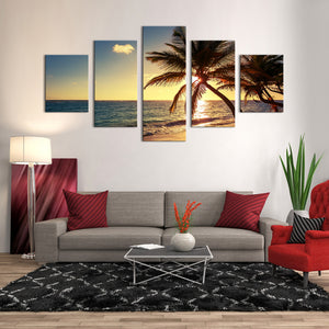 "5 Pieces Decorative 3D Painting ""Exotic Island Beach Sunset"""