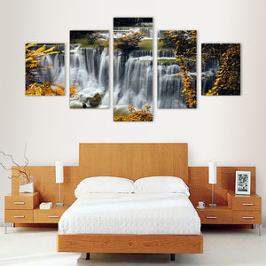 "5 Pieces Decorative 3D Painting ""Yellow Trees Waterfalls"""