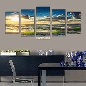 "5 Pieces Decorative 3D Painting ""Green Waves Sunset"""