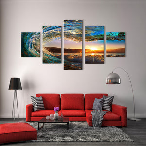 "5 Pieces Decorative 3D Painting ""Carved Wave"""