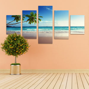 "5 Pieces Decorative 3D Painting ""Exotic Beach Dawn"""