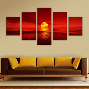 "5 Pieces Decorative 3D Painting ""Imposing Red Sky"""