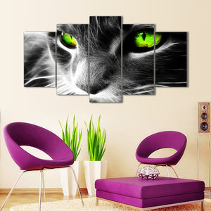 "5 Pieces Decorative 3D Painting ""Green Eyed Cat"""