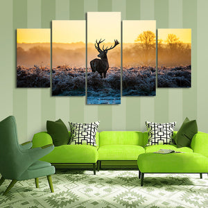 "5 Pieces Decorative 3D Painting ""Attentive Deer"""