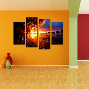 "4 Pieces Decorative 3D Painting ""Fiery Sunset"""