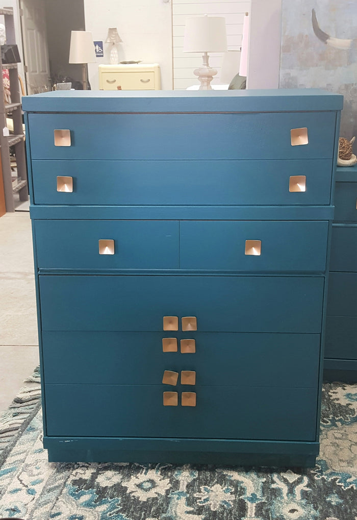 Teal high boy dresser