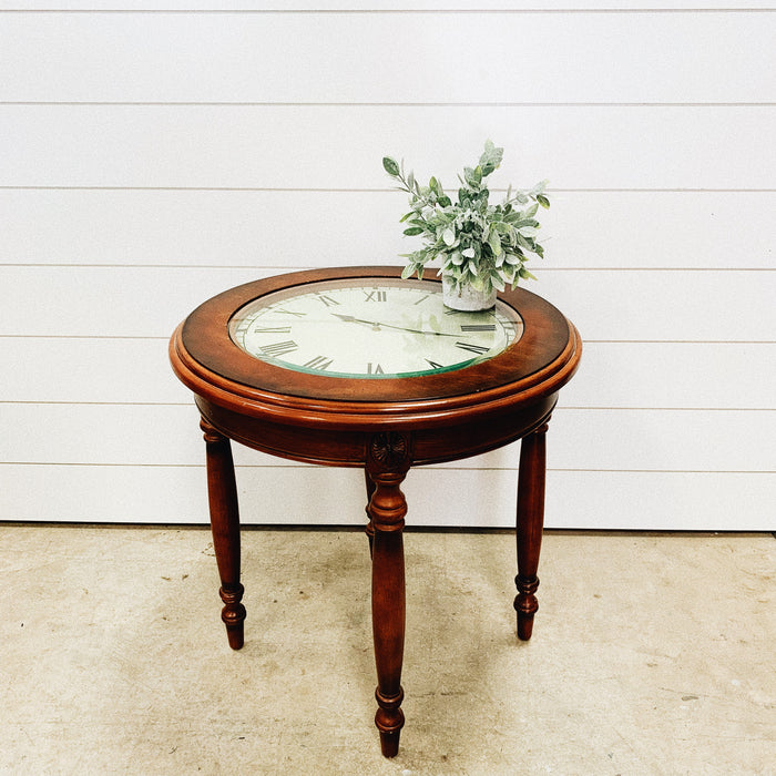 Clock Wood Side Table