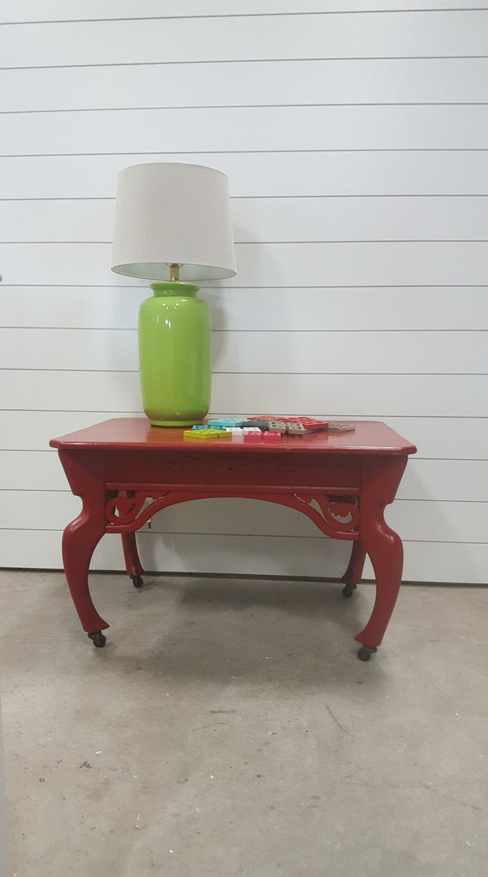 Bright Red side table/on casters