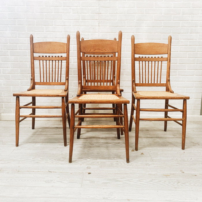 Cane Mesh Wood Chairs