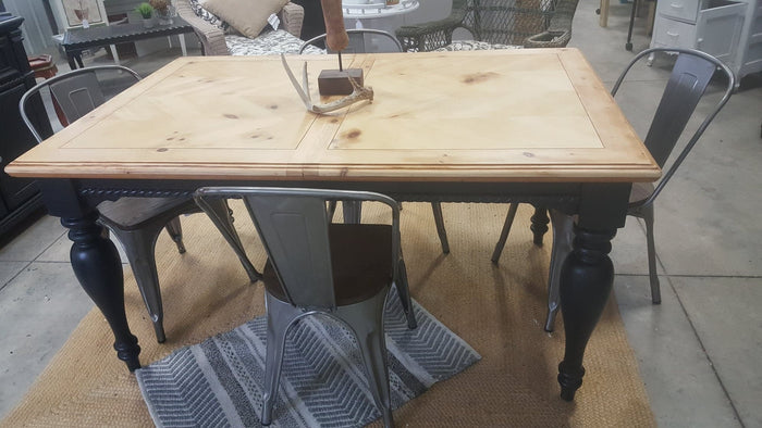 Pine top- black legged farmhouse table