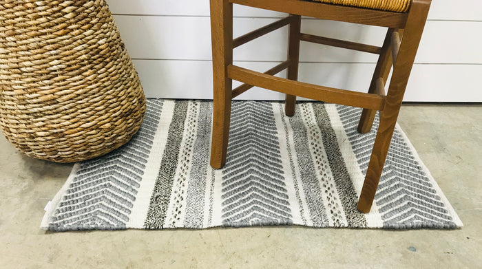 Grey Striped Rug Accessory
