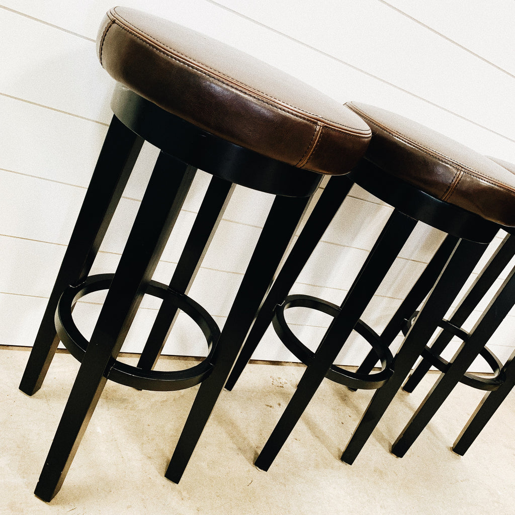 Dark Brown Leather Stools