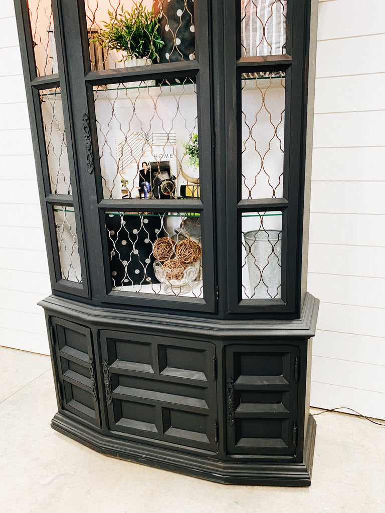 Black Wood China Cabinet Console