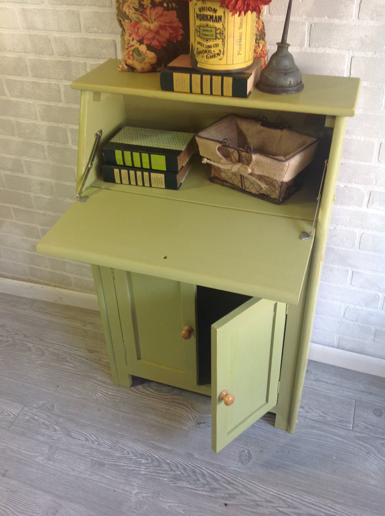 Green Secretary Drop Front storage