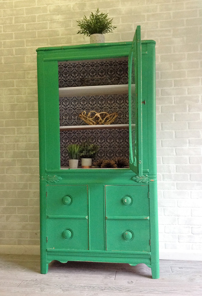 Glass and Green cabinet