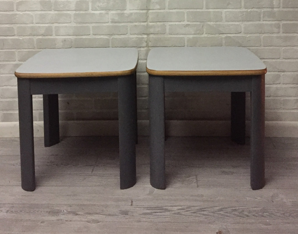 Wood Gray Table Pair